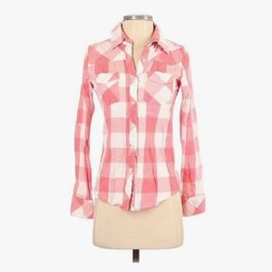 Thread and Supply pink gingham check button top